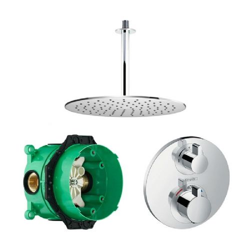 Abacus Emotion Plus Thermostatic Concealed Shower Kit With Round Shower Head And Ceiling Arm